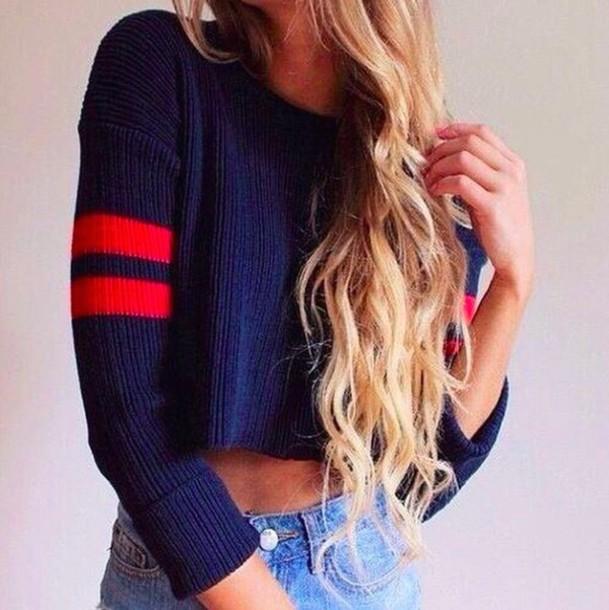 sweater cropped sweater jeans denim navy crop tops t-shirt shirt cropped long sleeves long hair hair blue sweater crop