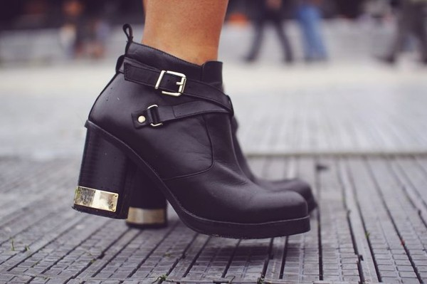 shoes boots black buckles gold metal