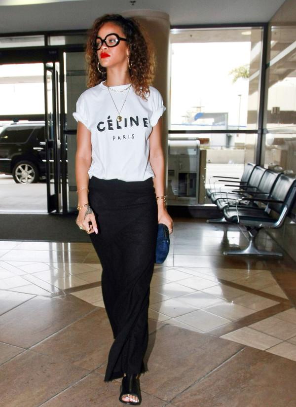 t-shirt celine fashion trendy rihanna celebrity style steal celebrity style celine paris t shirt fashionista
