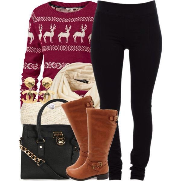 leggings purse clothes sweater boots scarf blouse shoes