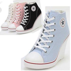 Platform Wedge Heels Sneakers Ankle Boots High Top Women's Girls Lace Zip Canvas | eBay