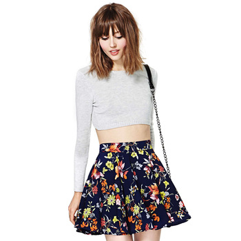 2014 NEW ARRIVAL HOT SALE!! Women Summer Spring Colorful Navy Blue with Flowers Printed Skirt Mini Chiffon Skirt-in Skirts from Apparel & Accessories on Aliexpress.com