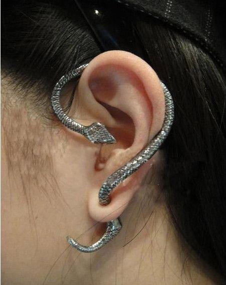 Hot New Gold Silver Bronze Twine Snake Serpent Ear Cuff Punk Rock Stud Earring | eBay