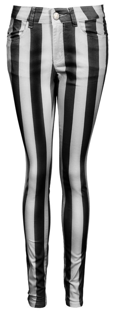 Womens Vertical Stripe Super Skinny Jeans Sizes 8 to 14 New | eBay