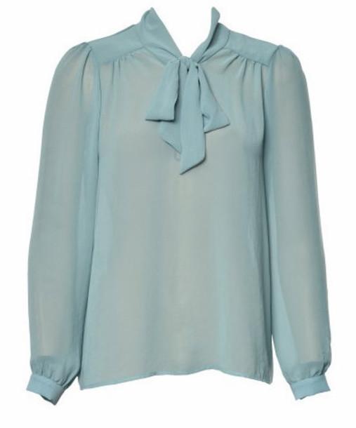blouse tie bows chiffon blouse blue shirt