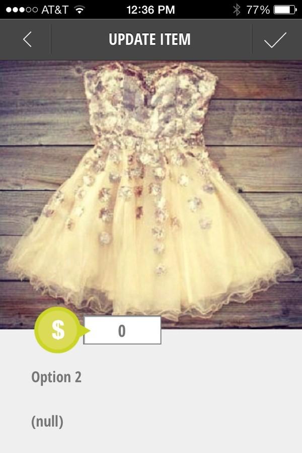 dress cream dress cream dress with silver sparkles sweatheart neckline fairy tale homecoming dress prom dress gold sparkle puffy
