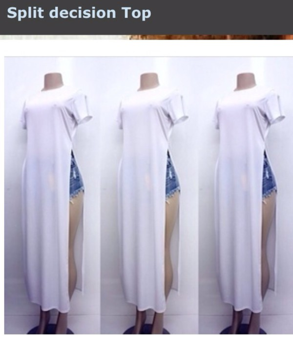 top side splits dress top t-shirt