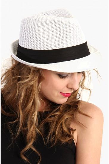 LoveMelrose.com From Harry & Molly   Hipster Fedora Hat - White