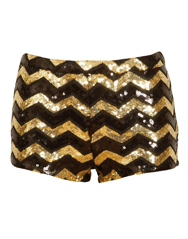 Black and Gold Sequin Embellished Zig Zag Shorts