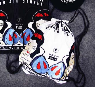 bag backpack drawstring grunge punk badass snow white princess