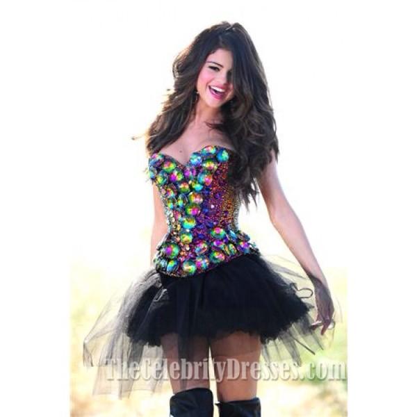 dress selena gomez prom dress sequins rainbow black dress