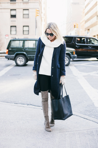 damsel in dior blogger sweater jeans coat shoes bag