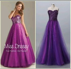 A Line Princess Sweetheart Floor Length Tulle Prom Dress with Sequins | eBay