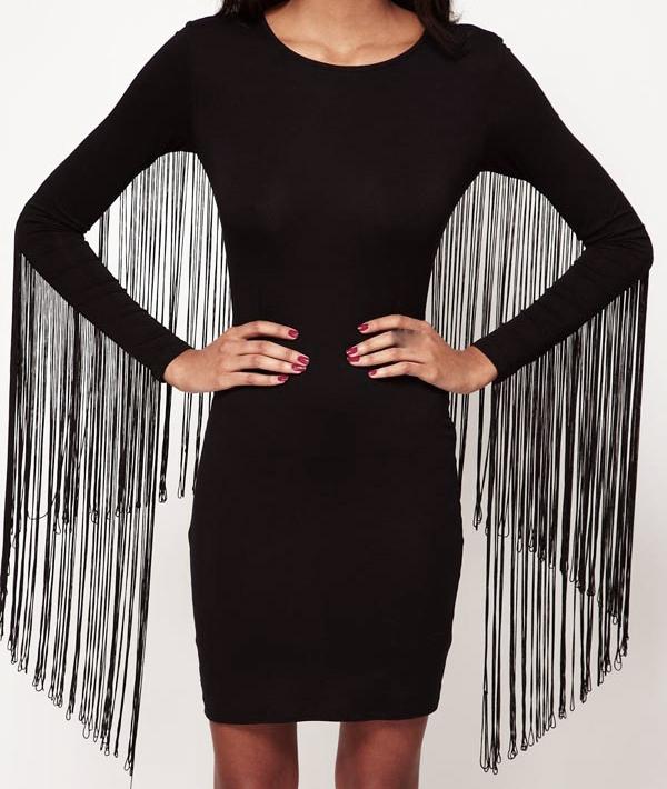 New Womens Sexy Back Fringe Tassel Long Sleeve Black Slim Fit Bodycon Dress | eBay