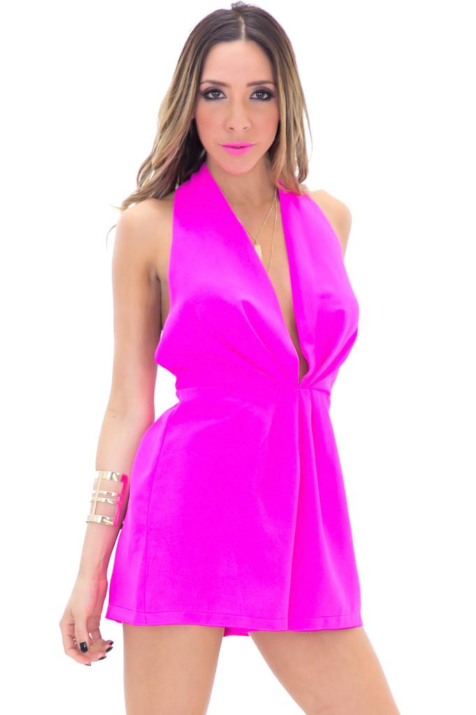 LIZ HALTER PLEATED ROMPER - Pink | Haute & Rebellious