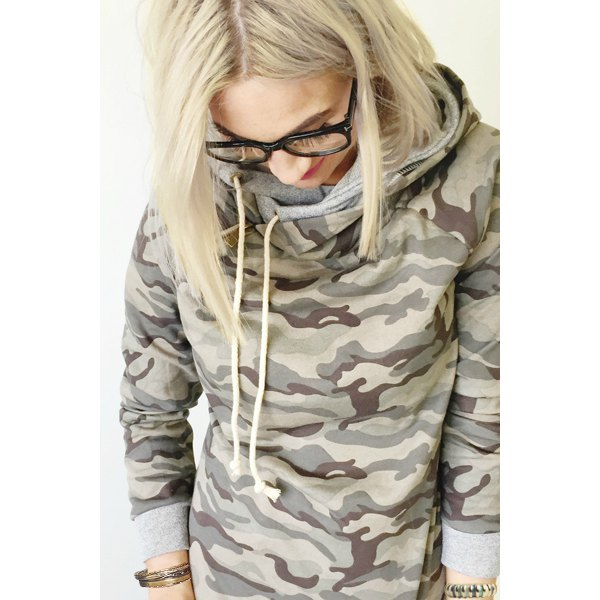 Stylish Hooded Long Sleeve Camo Print Pullover Hoodie For