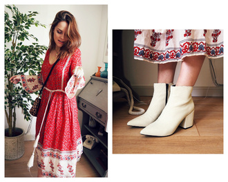 the little magpie blogger boots off-white folk patterned dress dress bag shoes