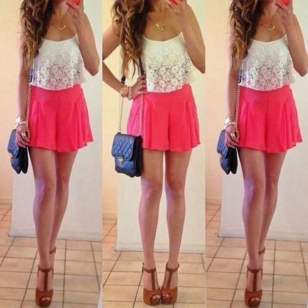skirt pink high waisted skirt