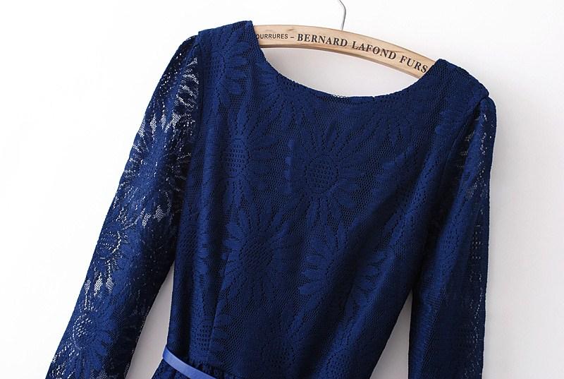 Dark Blue Zipper V-back Sunflower Lace Skater Dress - Sheinside.com
