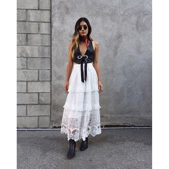 jacket nastygal vest leather western leatherblack open bolo silver ring festival summer style 36683 long skirt boho date outfit