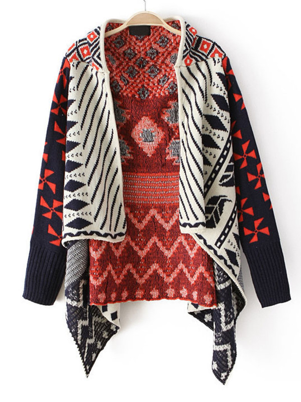 jacket orange cardigan tribal pattern black