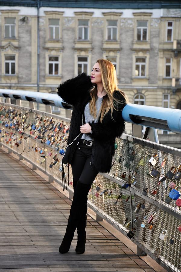 karina in fashionland jacket sweater pants shoes bag belt