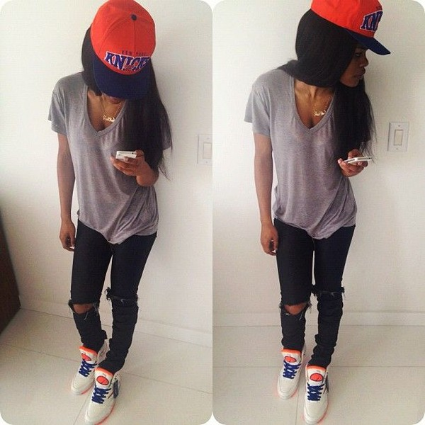 hat jeans shoes snapback necklace v neck t-shirt pants