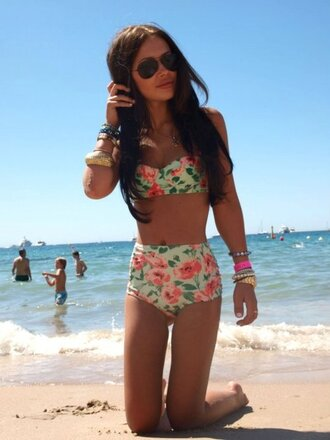 floral floral swimwear high waisted bikini high waisted swimwear cute brallete swimsuit high waisted floral pink orange
