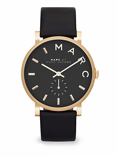 Marc by Marc Jacobs - Goldtone Stainless Steel & Leather Watch/Black - Saks.com