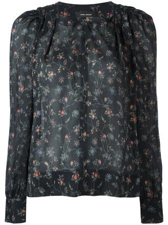 blouse women spandex floral print black silk top