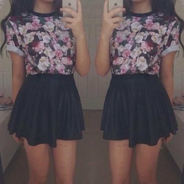 t-shirt top floral t-shirt skater skirt black pink skirt shirt blouse dress cute black skirt purple blue