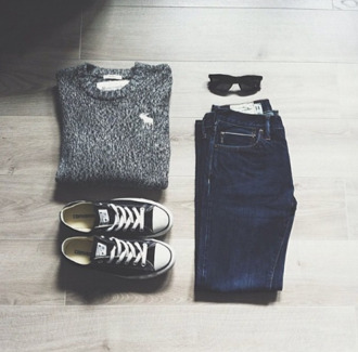 sweater clothes sweatshirt grey sweater abercrombie & fitch abercrombie sweater sunglasses black sunglasses rayban ray ban sunglasses black shoes black shoes converse black converse jeans denim denim pants grey x shirt grey moose logo where the fuck is it from blouse knitted sweater grey black elk warm sweater spring fall outfits comfy chic burnout jumpsuit pants abecrombie & fitch style alstars blue white fashion skinny jeans fall sweater all star cute blue jeans outfit cute outfits oversized sweater knitwear knitted cardigan knitted crop top