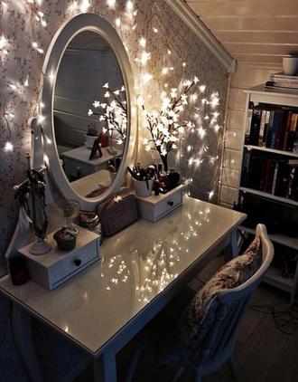 makeup table make-up lights home decor bedroom christmas lights peaceful jewels