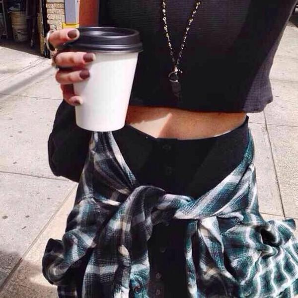 plaid shirt grunge flannel shirt black top