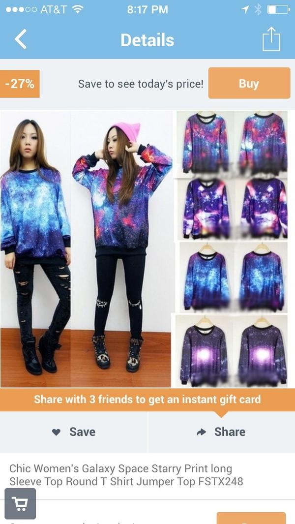 sweater sweatshirt galaxy print galaxy sweatshirt chic space starry long sleeves