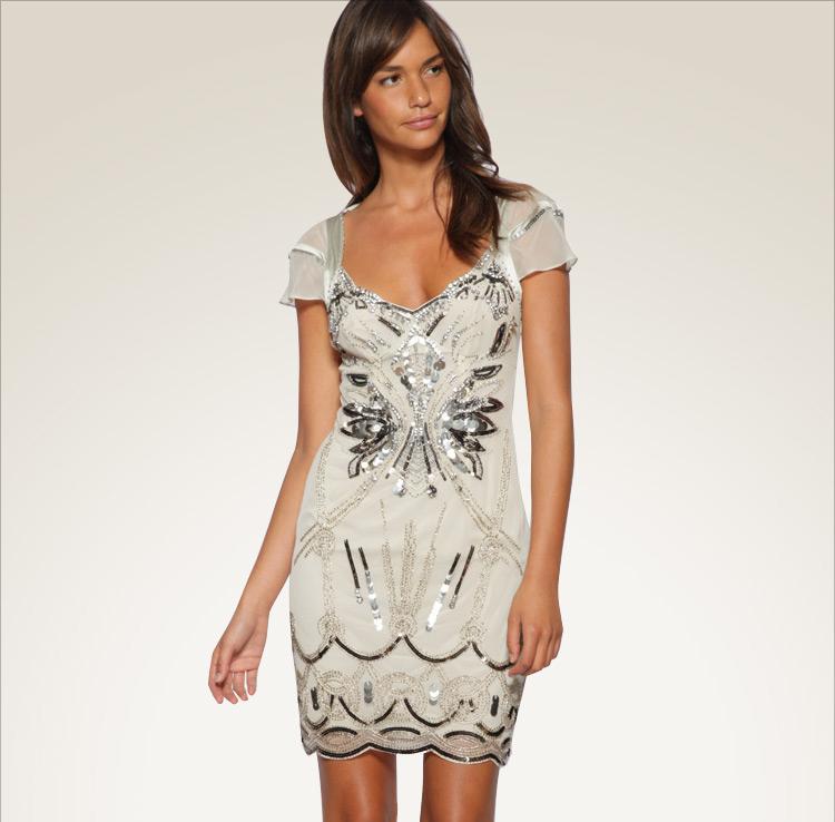 Off-white Mini Dress - Bqueen Apricot Diamante Dress  K153Y | UsTrendy