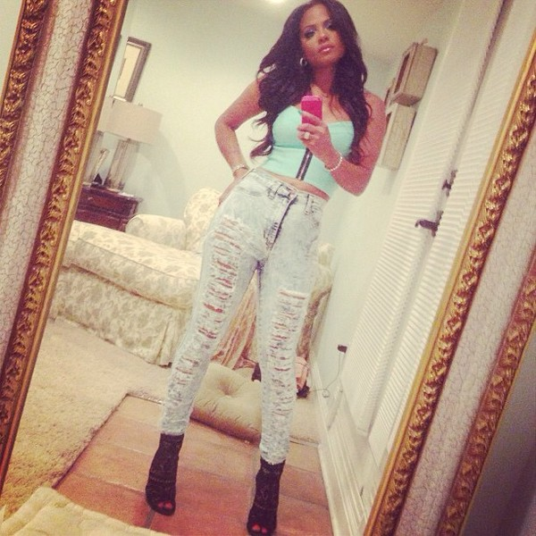 jeans acid wash distressed denim high waisted jeans cropped bustier tank top blouse