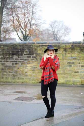 j for jen blogger jeans scarf tartan scarf hat elbow patches red sweater