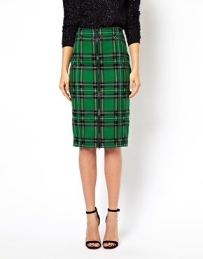 ASOS | ASOS Check Pencil Skirt with Bead Embellishment at ASOS