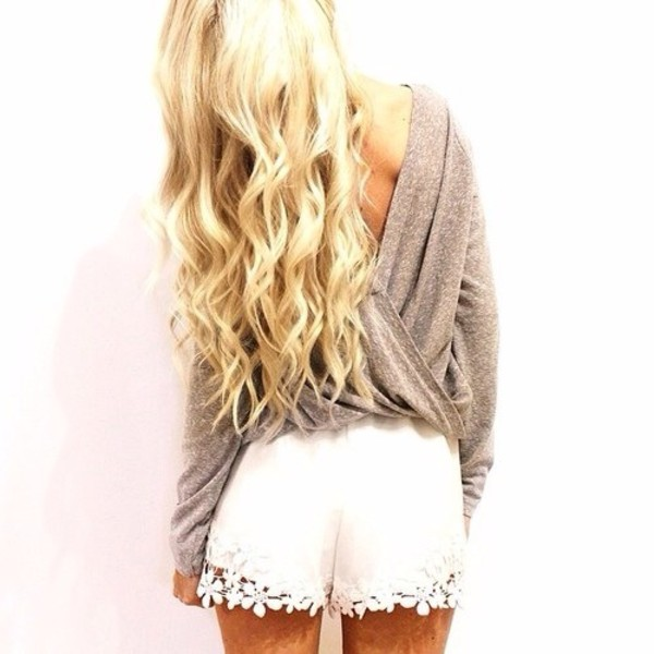 shorts white lace shorts blouse