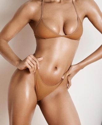 swimwear bikini bikini top bikini bottoms brown nude beige sexy summer summer body nastygal tan