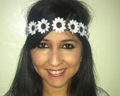 white daisy headband flowercrown by EDMdancewear on Etsy