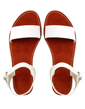 New Look   New Look Hondi White Two Part Flat Sandals at ASOS
