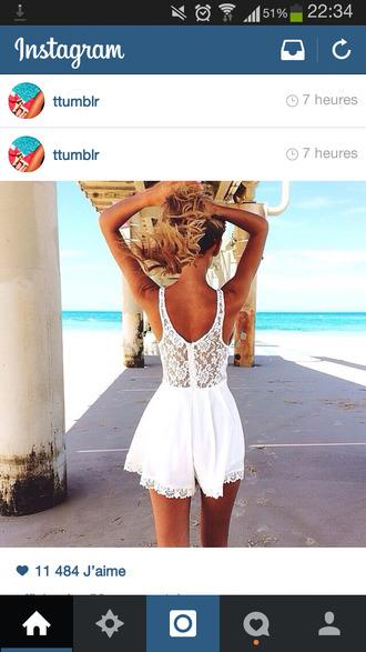 dress blanc combinaison short shopping fashion