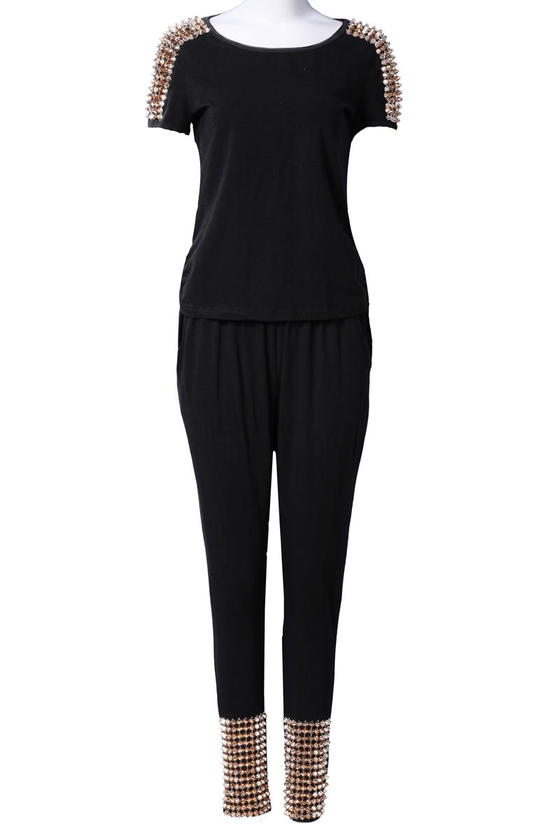Black Short Sleeve Shoulder Rivet Top With Pant - Sheinside.com