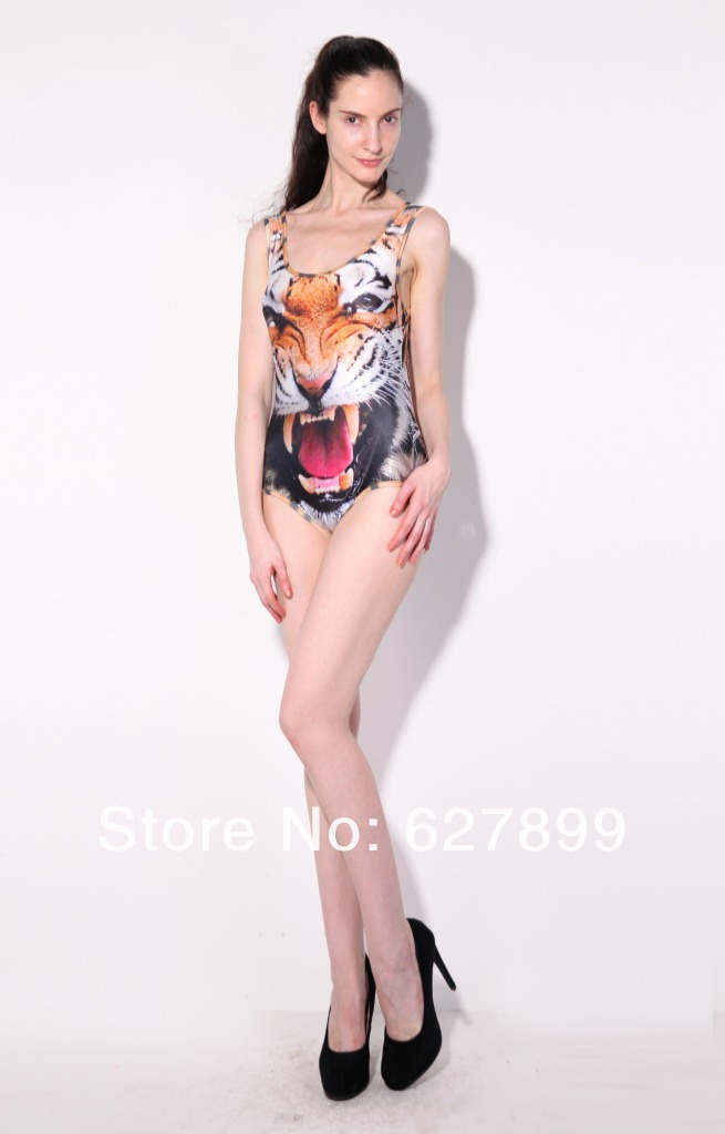 Polyster and Spandex Color Printed Swimming Suit Women Animal Print Swimwear One Piece Women Ferocious Tiger One Piece Swimsuits-in One Pieces from Apparel & Accessories on Aliexpress.com