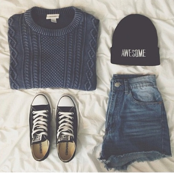 sweater hat blue marine clothes shorts converse