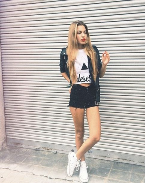 jacket streetwear streetstyle converse shorts jaquet t-shirt High waisted shorts black black jacket black shorts white white converse trainers white sneakers leather jacket grunge leather urban casual outfit