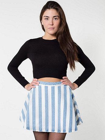 Striped Denim Circle Skirt  | American Apparel