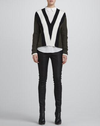 ALC Branch Tricolor Sweater, Sevy Semisheer Silk Blouse & Misa Leather Skinny Pants - Neiman Marcus